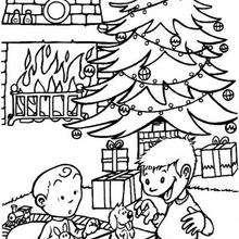 Weihnachtsbaum und Welpe zum Ausmalen