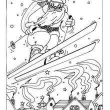 Skifahrender Weihnachtsmann zum Ausmalen