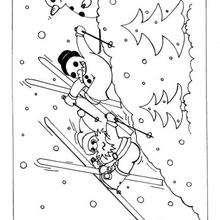Schneemänner fahren Ski zum Ausmalen