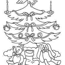Weihnachtsbaumornamente und Geschenke zum Ausmalen