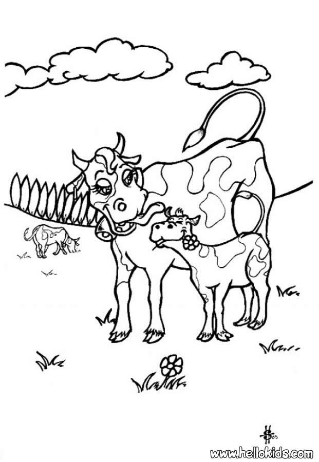 Kuh mit kalb zum ausmalen zum ausmalen for Coloring pages of a cow