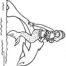 Delphin und Meerjungfrau zum Ausmalen