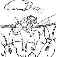 Esel und Mädchen zum Ausmalen