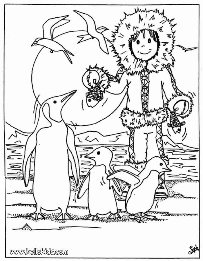 Eskimo mit pinguinen zum ausmalen zum ausmalen de for Eskimo coloring page