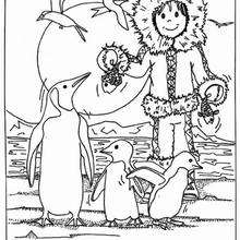 Eskimo mit Pinguinen zum Ausmalen