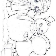 Mädchen bauen einen Schneemann zum Ausmalen