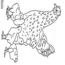 Henne und Hühner zum Ausmalen