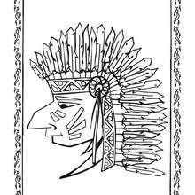Indianer Häuptling Portrait zum Ausmalen