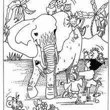Kinder mit Elefant zum Ausmalen
