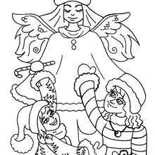 Engel mit Kindern zum Ausmalen