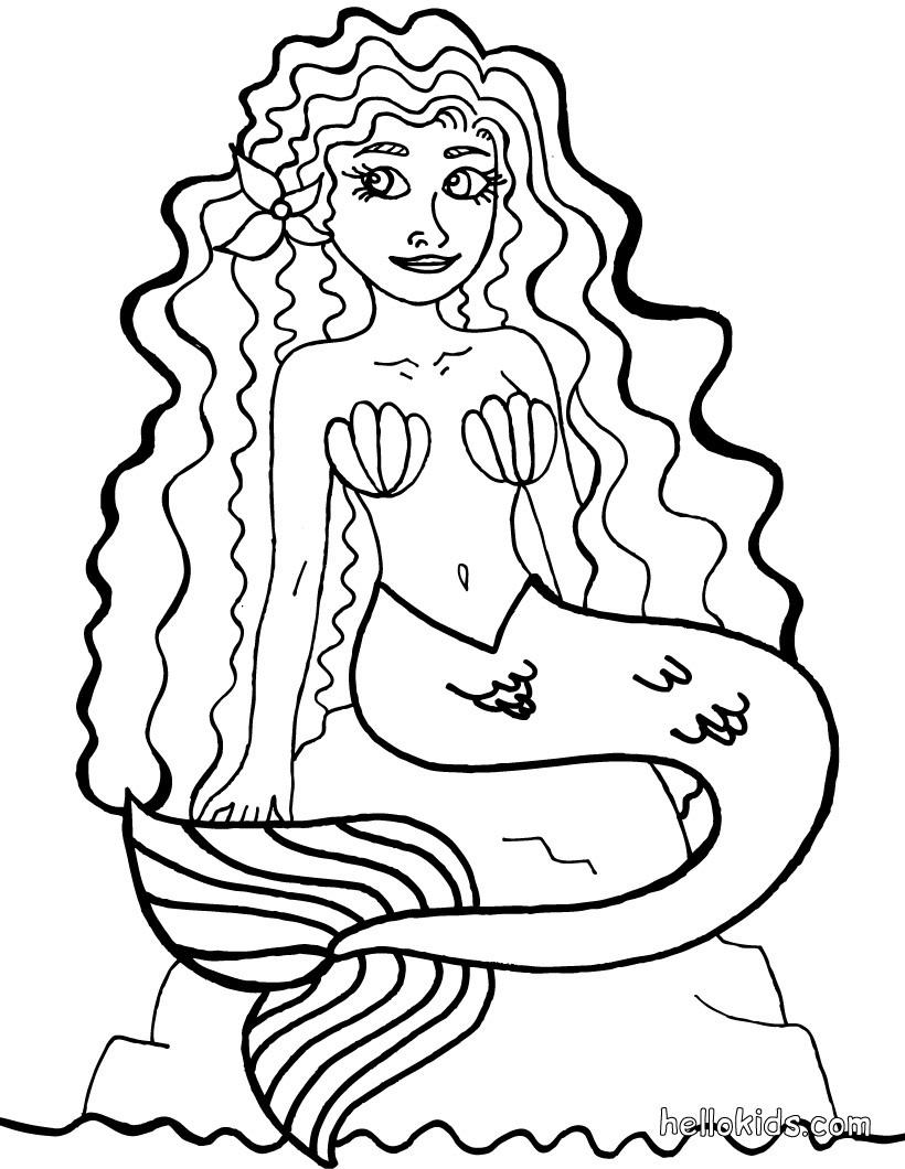 Meerjungfrau zum ausmalen zum ausmalen - de.hellokids.com