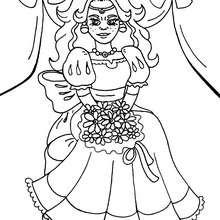 Prinzessin mit Blume zum Ausmalen