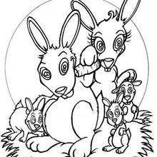 Kaninchenfamilie zum Ausmalen