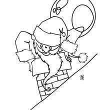 Der Weihnachtsmann auf dem Schornstein zum Ausmalen