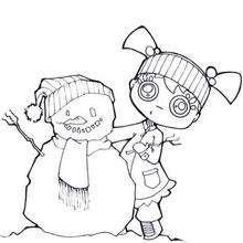 Mädchen mit Schneemann zum Ausmalen