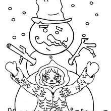 Schneemann mit Kind zum Ausmalen