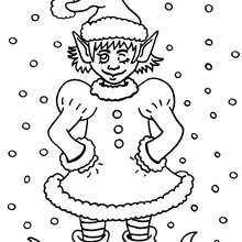 Wichtel im Weihnachtskostüm zum Ausmalen