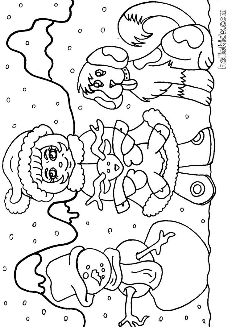 Kinder mit schneemann zum ausmalen zum ausmalen - de.hellokids.com