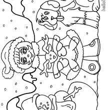 Kinder mit Schneemann zum Ausmalen