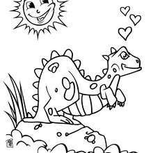 Verliebter Dinosaurier zum Ausmalen