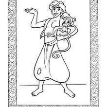Aladdin und Abu zum Ausmalen