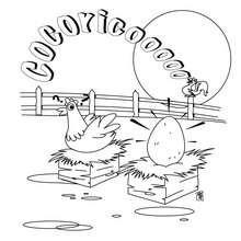 Hahn und Henne zum Ausmalen