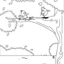 Vogel im Nest zum Ausmalen