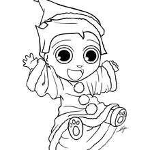 Teo trägt ein Weihnachtsmannkostüm zum Ausmalen