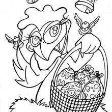 Henne mit Osterkorb zum Ausmalen