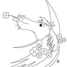 Blumengeschmücktes Pferd zum Ausmalen
