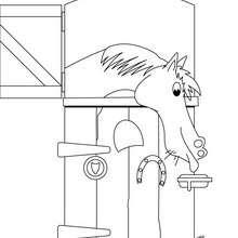 Pferd im Stall zum Ausmalen