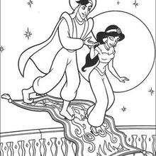 Jasmine, Aladdin und der Zauberteppich zum Ausmalen