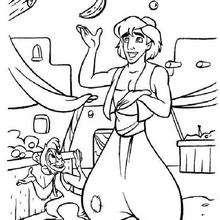 Jonglierender Aladdin zum Ausmalen