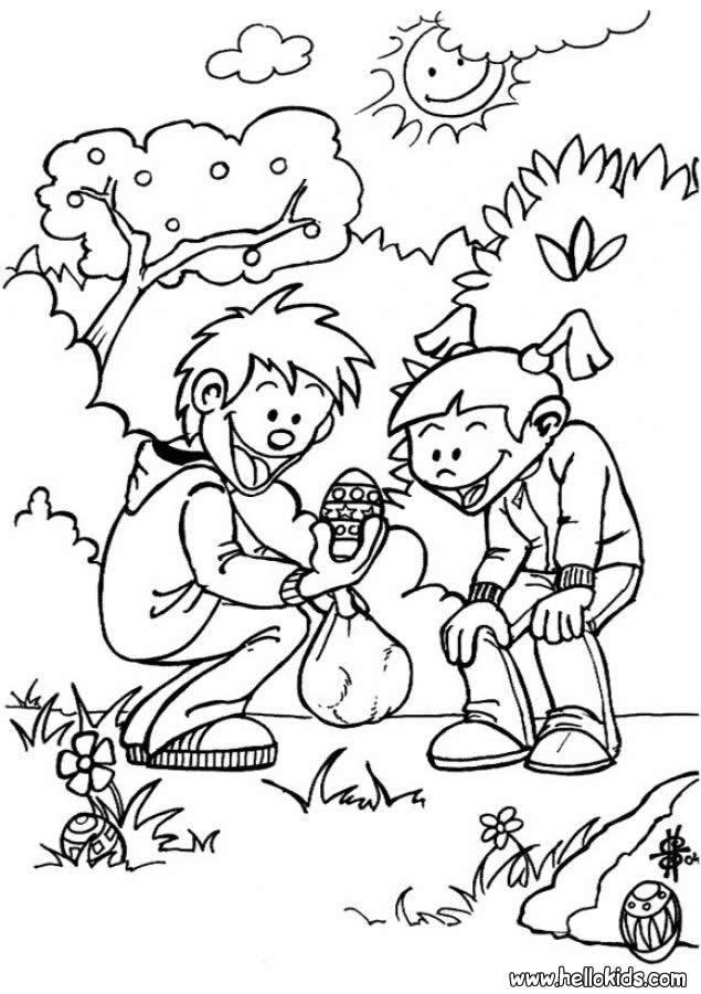 Kinder suchen ostereier zum ausmalen zum ausmalen - de.hellokids.com