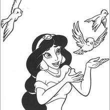 Prinzessin Jasmine mit Vögeln zum Ausmalen