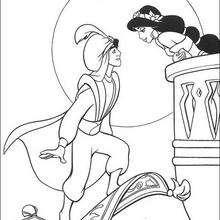 Jasmine küsst Aladdin zum Ausmalen