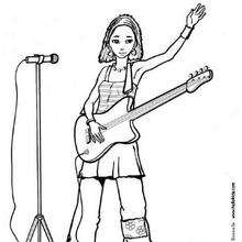 Sänger mit Gitarre zum Ausmalen