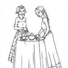 Prinzessinnen Teegesellschaft zum Ausmalen