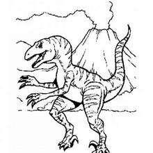 Allosaurus und Vulkan zum Ausmalen