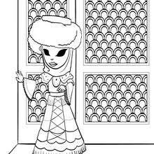 Ana trägt ein Venedigkostüm zum Ausmalen