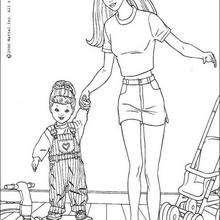 Barbie mit ihrer Tochter zum Ausmalen