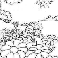 Lustige Bienen zum Ausmalen