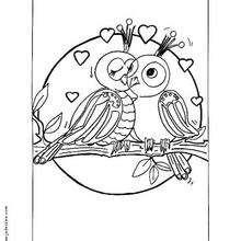 Verliebte Vögel zum Ausmalen