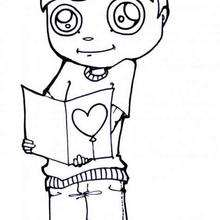 Junge mit Valentinskarte zum Ausmalen