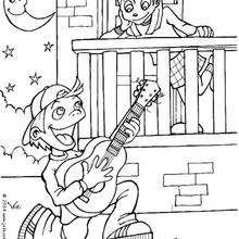 Junge singt ein Liebeslied zum Ausmalen