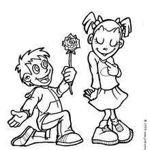 Junge mit Blume zum Ausmalen