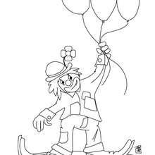 Clown mit den Ballons zum Ausmalen