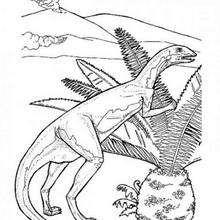Dinosaurier und Palme zum Ausmalen
