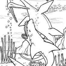 Dinosaurier mit prähistorischem Hai zum Ausmalen