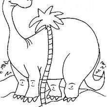 Diplodocus mit einer Palme zum Ausmalen